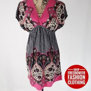 Xhilaration | Empire Waist V Neck Print Dress (XS)